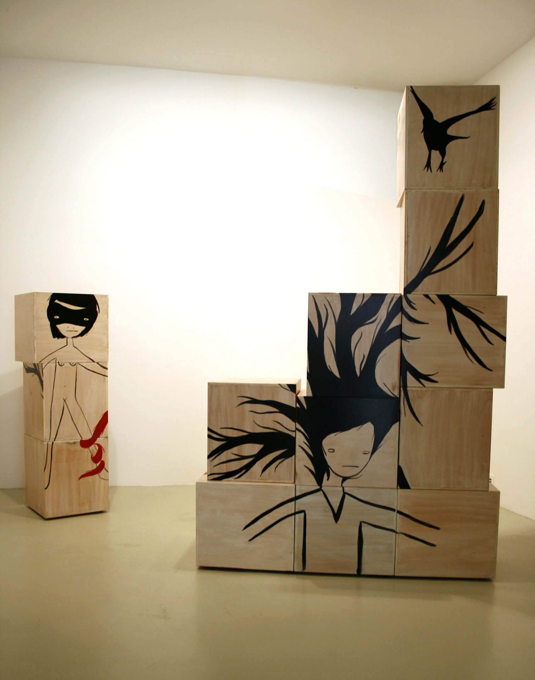 'The unfairy landscapes' 2008, mixed media on woods, variable measures.