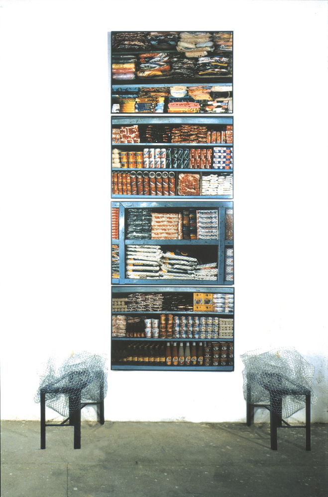 Senggo, (ed. 2/3), 1997, fotography, iron y metallic net, 301 x 55 x 200 cm.