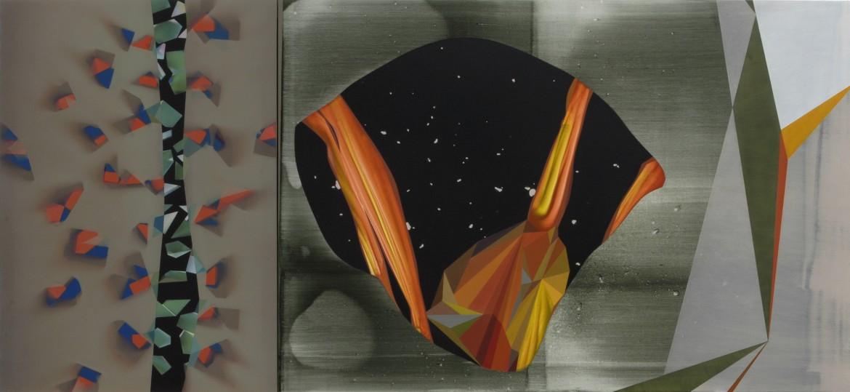 Close to the edge, 2015, acrilico sobre lienzo, 135 x 292 cm.
