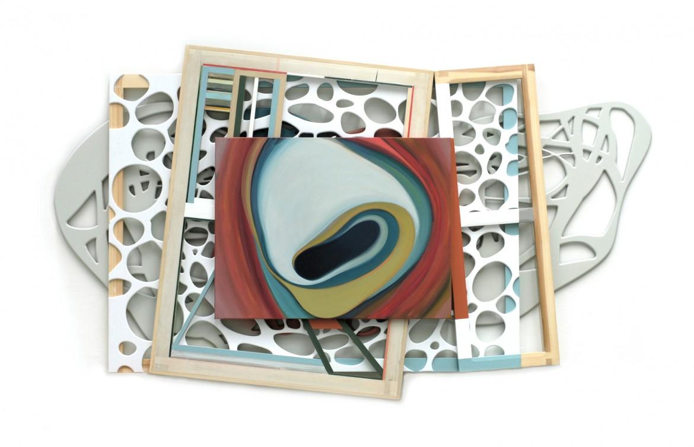 El huevo de la serpiente, 2010. Acrilico sobre tela, madera DM y pvc, 175 x 300 cm.