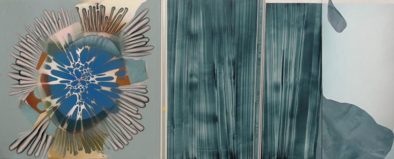 El nudo secreto, 2001-15. Acrilico sobre lienzo y perfil de aluminio, 195 x 480 cm.