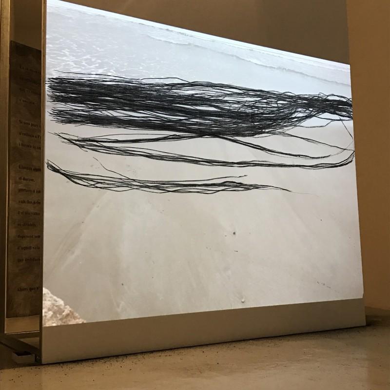 En el moment que suneixen, 2017,  carboncillo sobre madera, 200 x 240 cm.