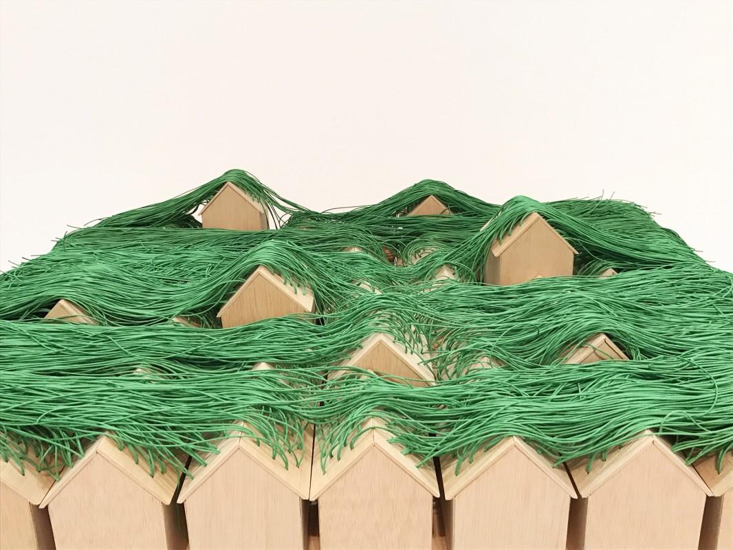 Green Huts. 50 green huts installation