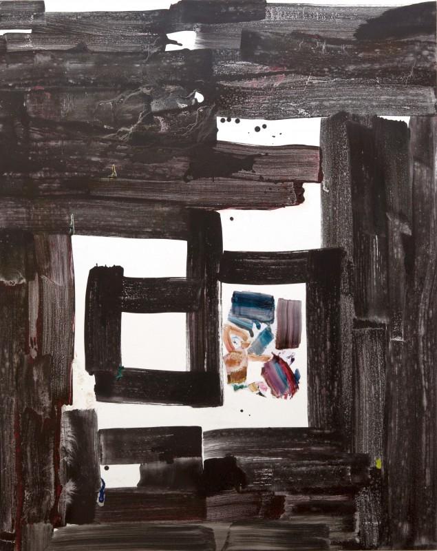 Creeping East -arrastrandose hacia el Este-, 2016, pigmento seco y collage sobre tela, 151,5 x 122 c