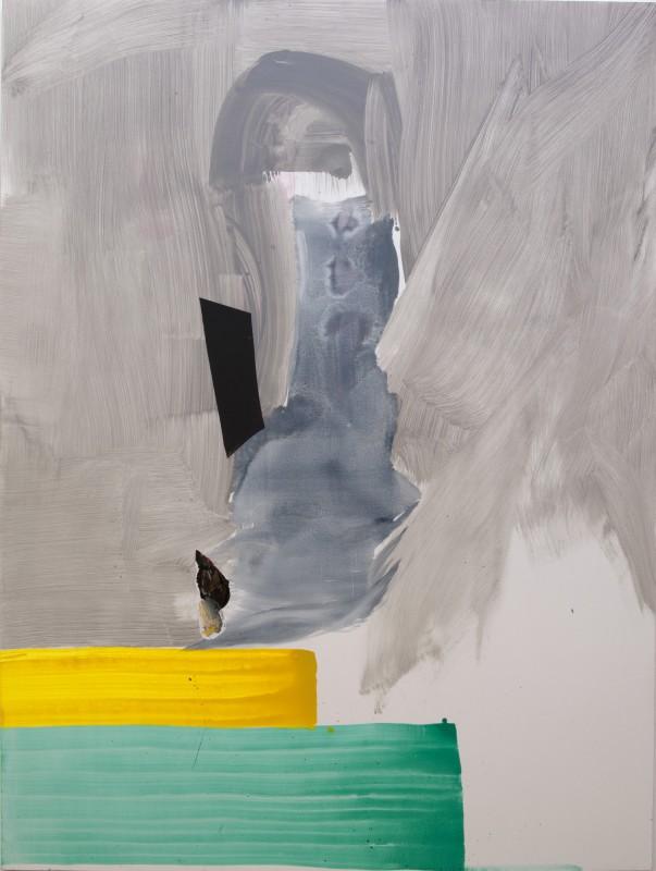 Silence again, 2016, pigmento seco y collage sobre tela, 201 x 151,5 cm.