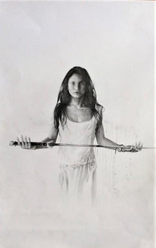 Sibil�la, 2016, grafito sobre papel, 43 x 33 cm.