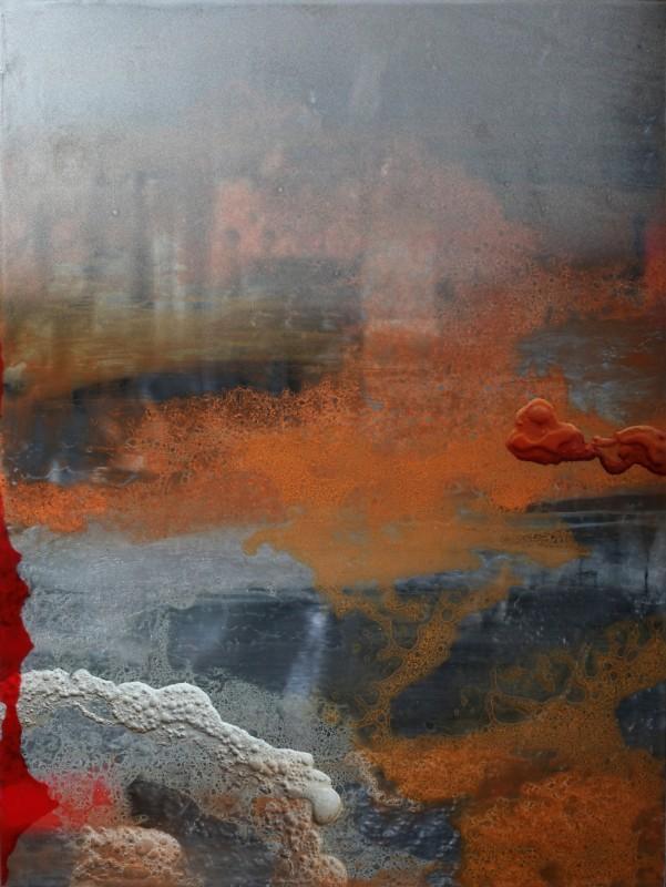Sin tiutlo, 2018, tecnica mixta y resina sobre dibond, 100 x 75 cm.
