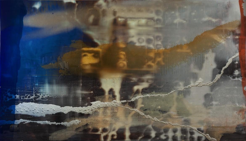 Sin tiutlo, 2018, tecnica mixta y resina sobre dibond, 150 x 260 cm.