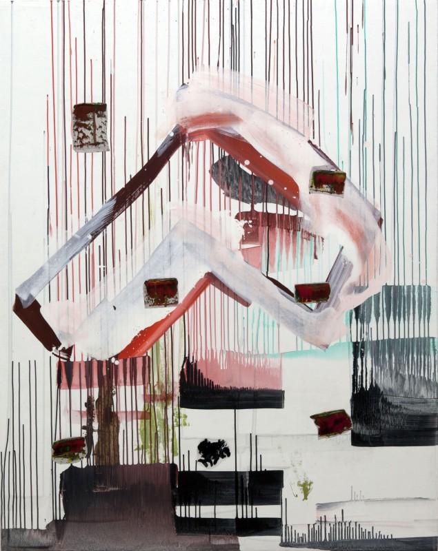 Mil dias de lluvia, 2016, collage y pigmento seco sobre lienzo, 151,5 x 122 cm.