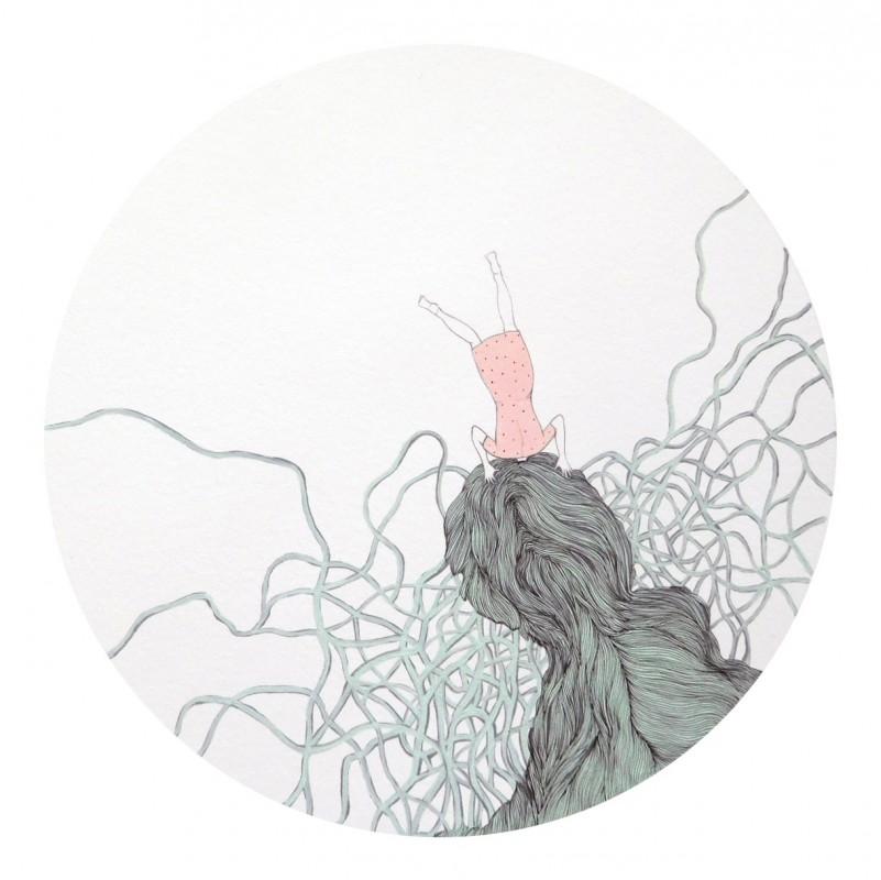 Rizoma 3, 2015, mixta sobre papel, 45 x 45 cm.
