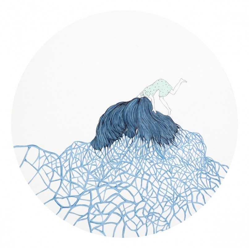 Rizoma 4, 2015, mixta sobre papel, 45 x 45 cm.
