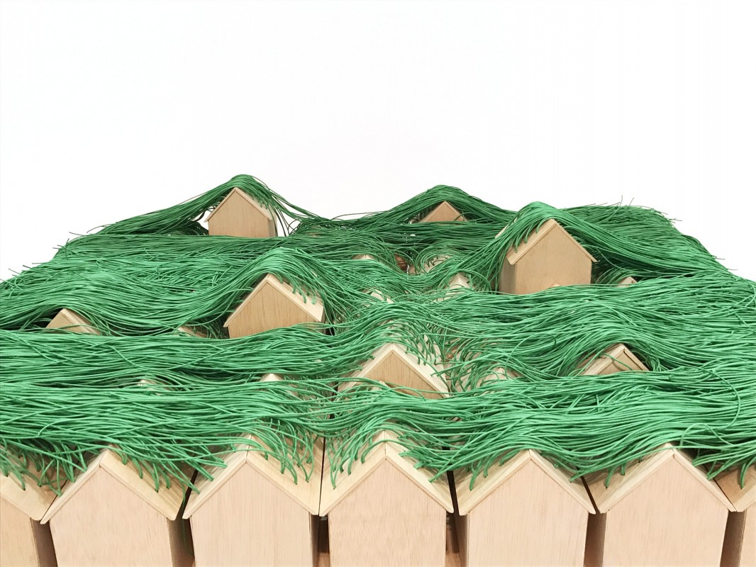 Green huts, 2017, mixed media, variable measures