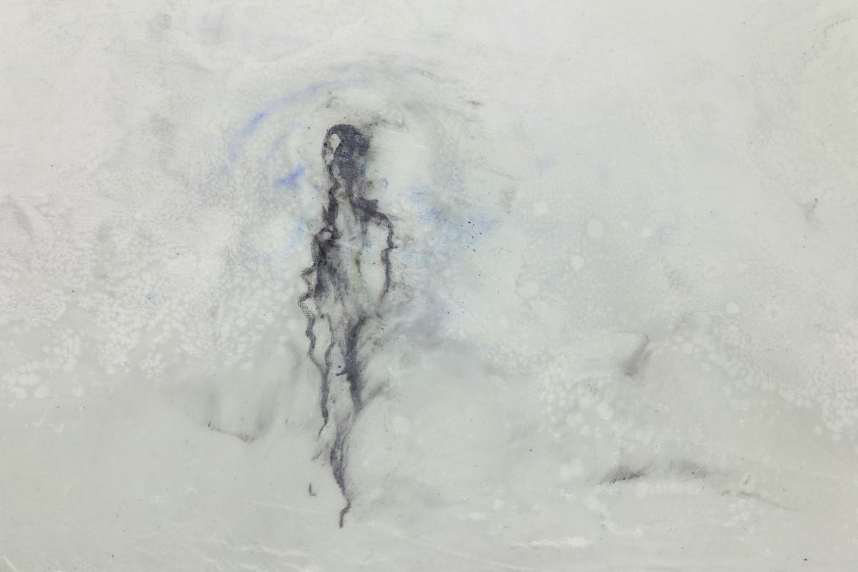 Silencis, 2017, pigmentos y epoxy sobre lienzo, 60 x 90 cm.