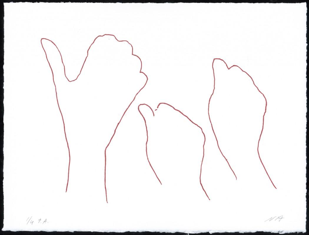 Alrededor de una mano IV, 2006, eching, 28 x 37 cm.