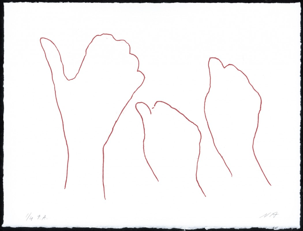 Alrededor de una mano IV, 2006, aguafuerte, 28 x 37 cm.