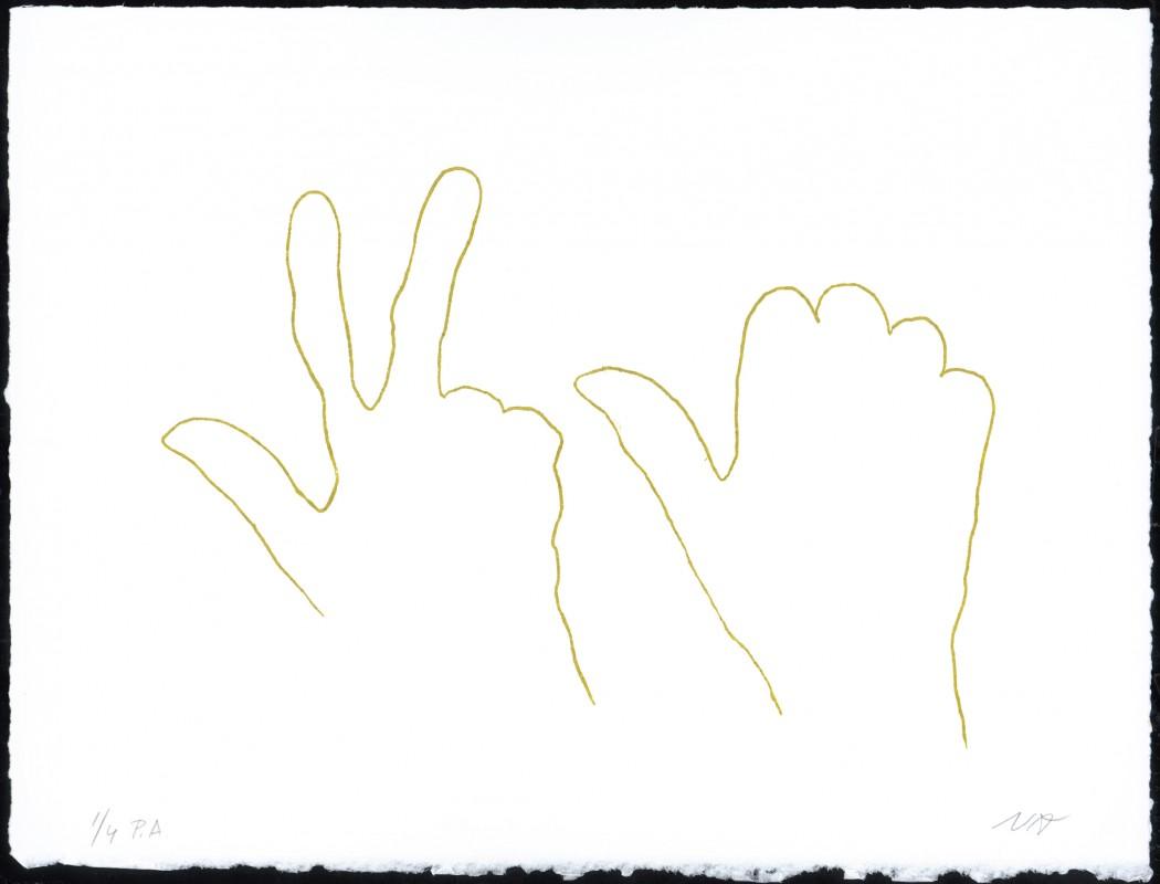 Alrededor de una mano V, 2006, aguafuerte, 28 x 37 cm.