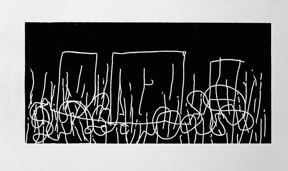 S/T, 1993-94, xylographie, 112 x 180 cm.
