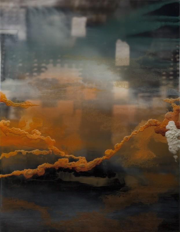 Frost frame-melt, 2018, mixed media and resin on dibond, 160 x 122 cm.