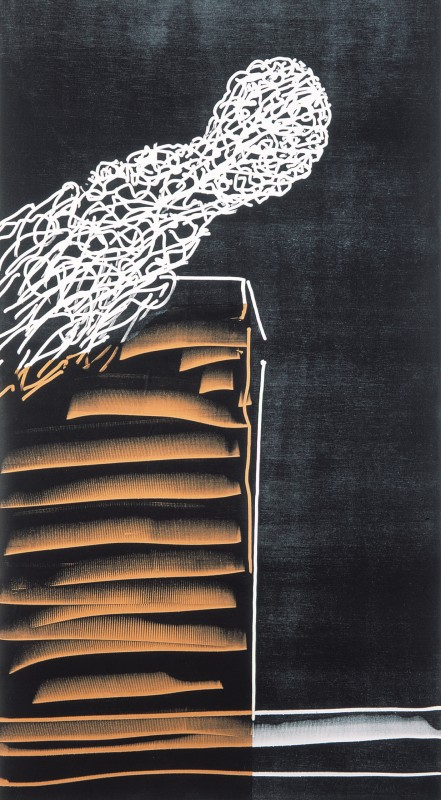 Amador. S/T, 2004, xilografia, 183 x 90 cm.