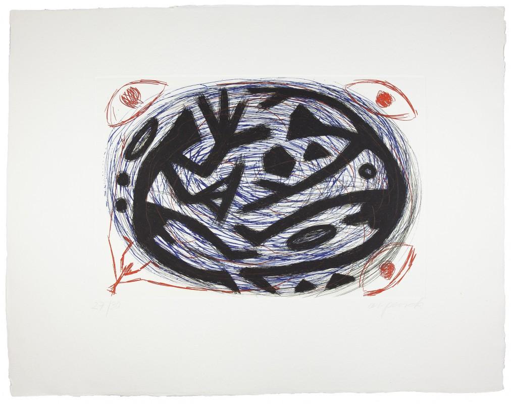 A. R. Penck. Kraftffeld Kampf, 1996, aguafuerte y punta seca, 85 x 110 cm.