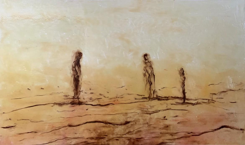 Amador. Silencis, 2017. pigmentos y epoxy sobre tela, 114 x 195 cm.