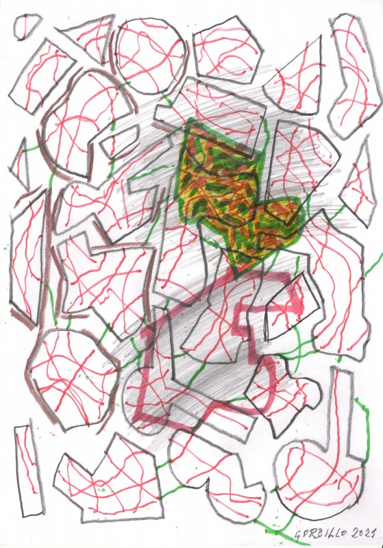 Sin titulo 2, 2021, tecnica mixta sobre papel, 29,7 x 21 cm.