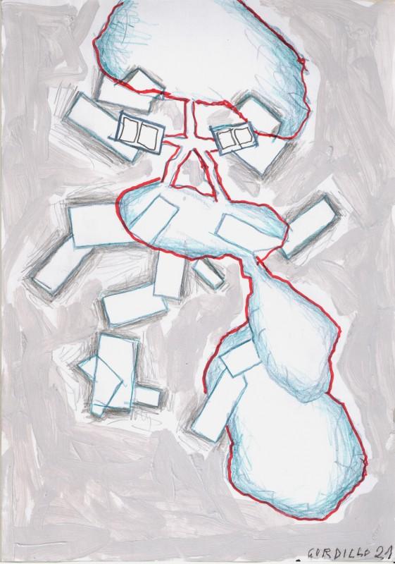 Sin titulo 8, 2021, tecnica mixta sobre papel, 29,7 x 21 cm.