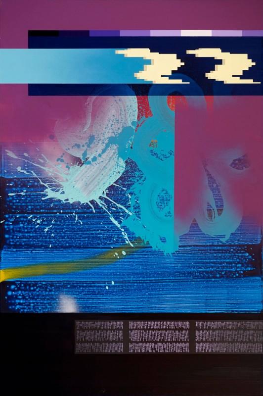 Fluido sintetico 1, 2020, acrylic on canvas, 195 x 130 cm.