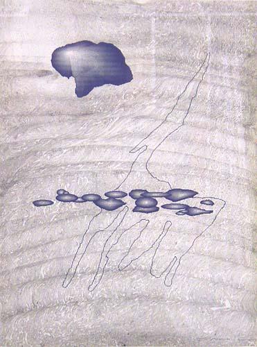 Serie 'Microworlds s/t sc 10', 1996, técnica mixta sobre papel, 30 x 21,5 cm.