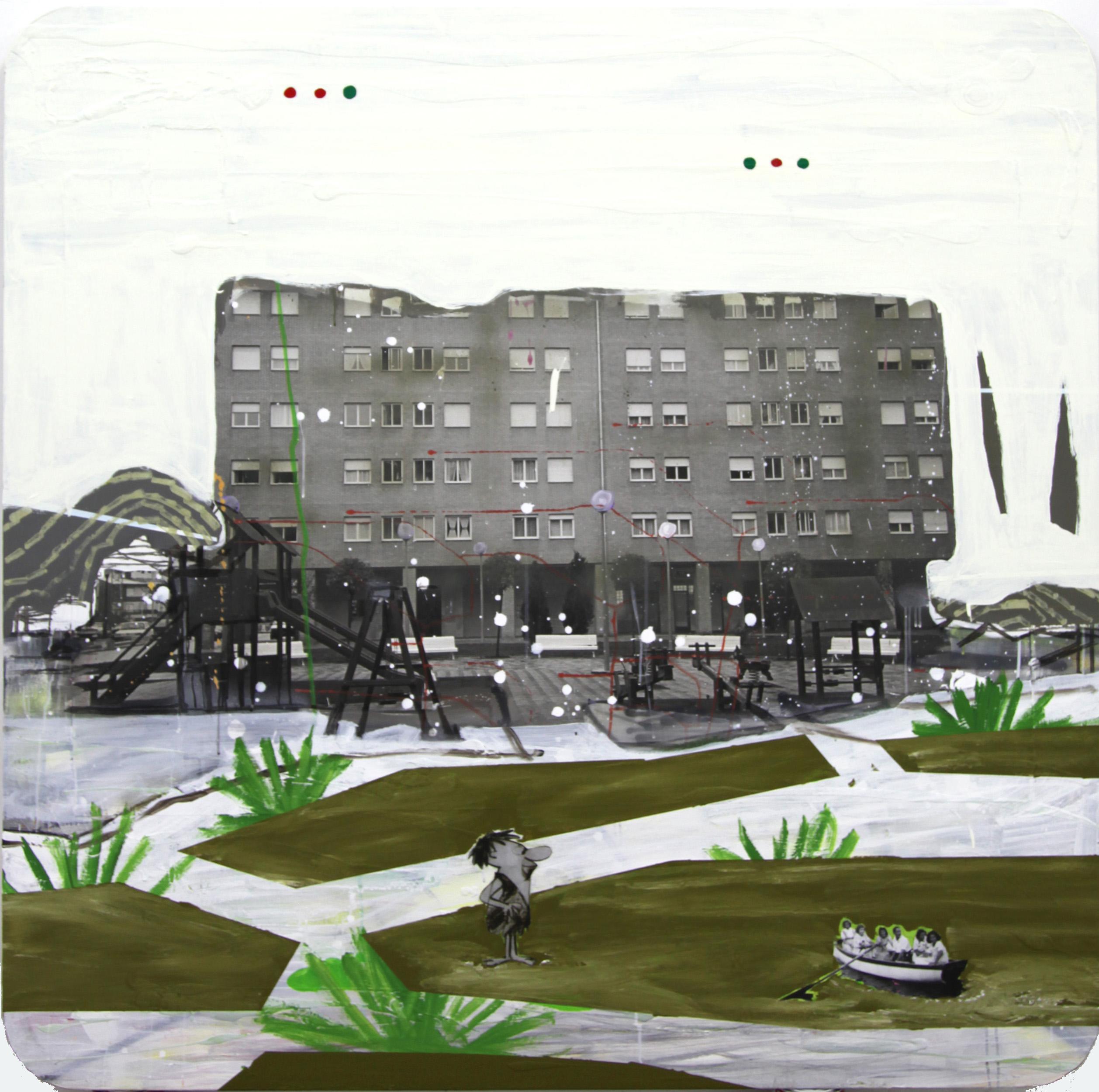 Vueltas del paisaje, 2012, mixed media on canvas, 150 x 150 cm.