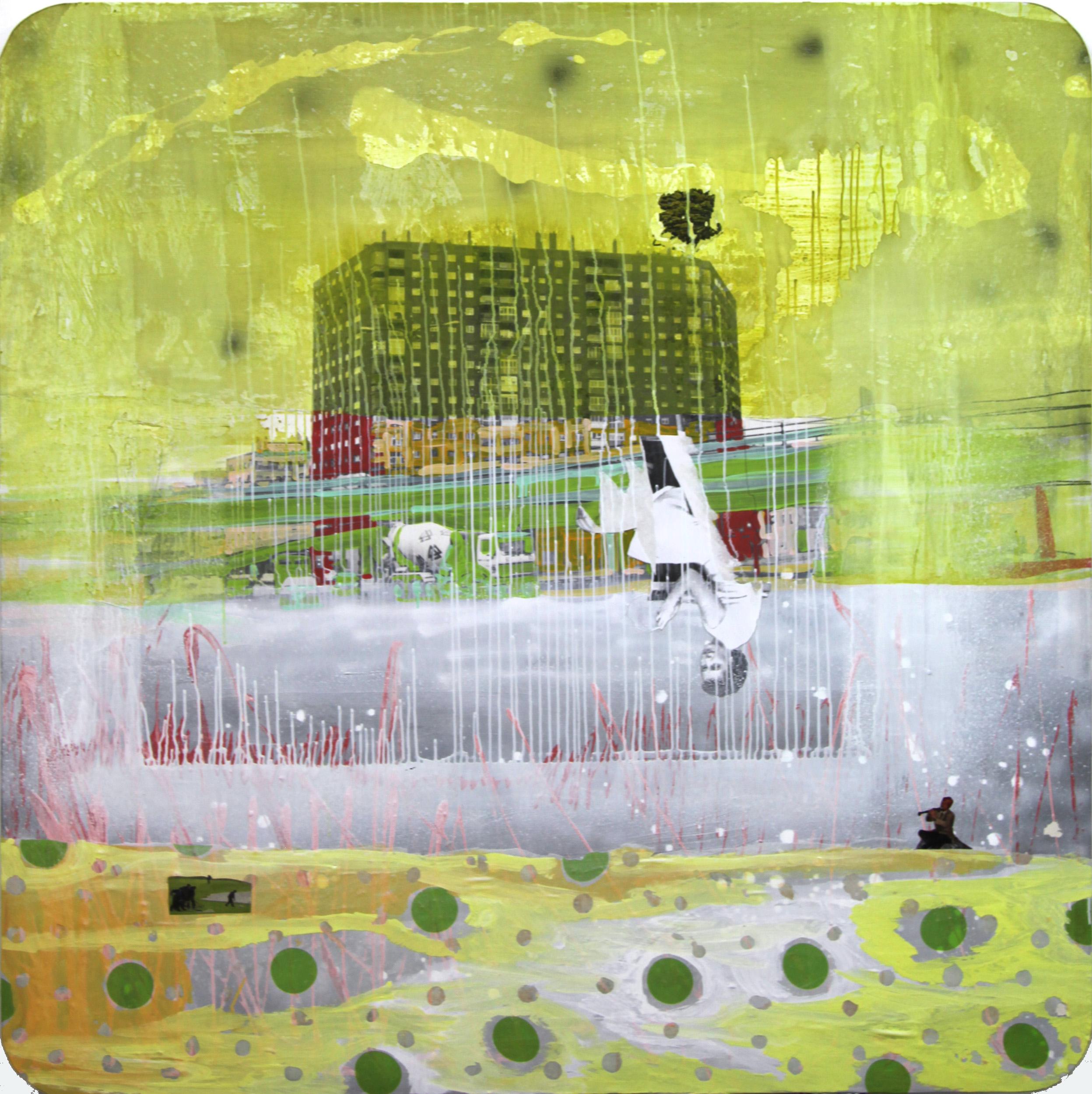 Amarillo sentimental, 2012, técnica mixta sobre lienzo, 150 x 150 cm.