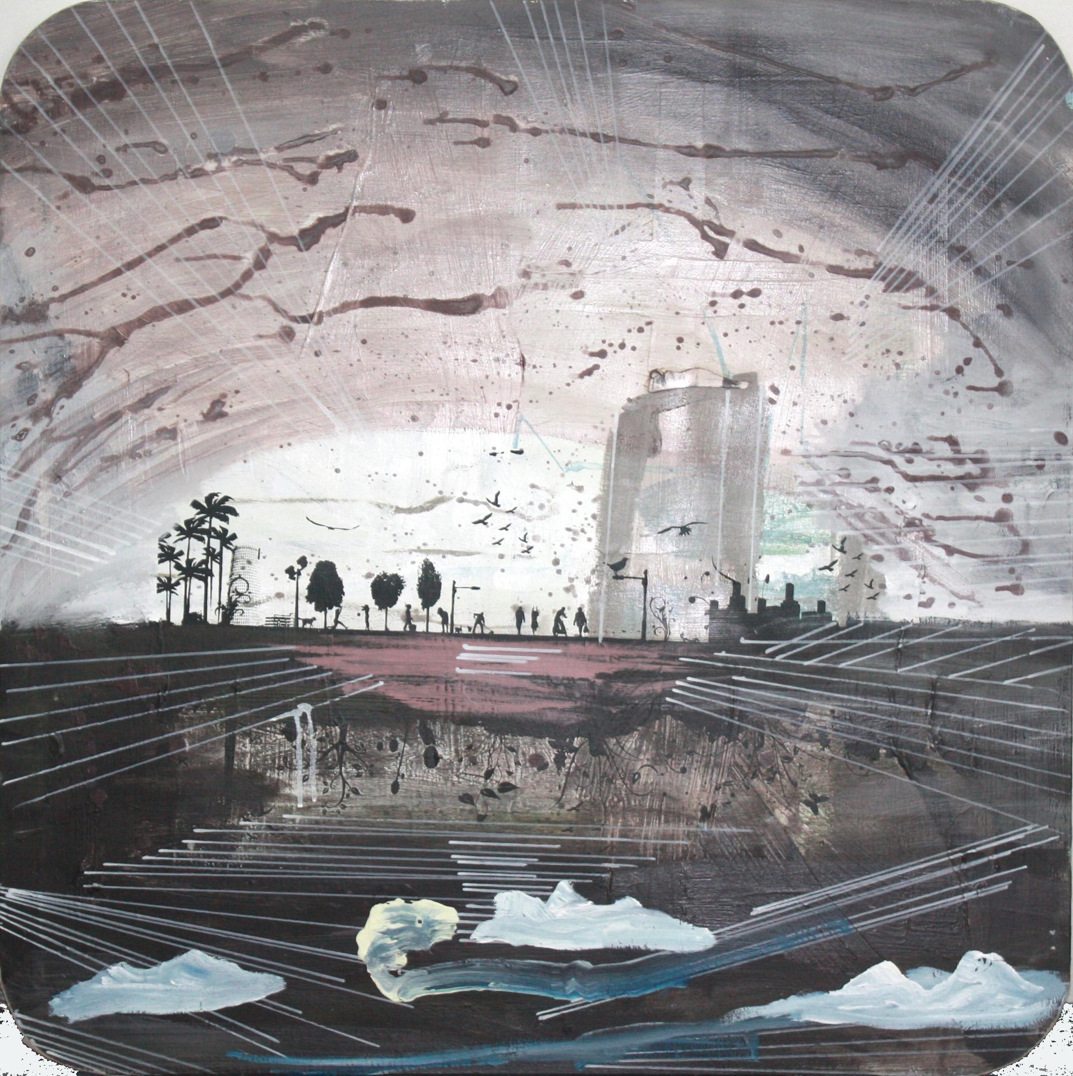Estanque, 2012, técnica mixta sobre lienzo, 100 x 100 cm.
