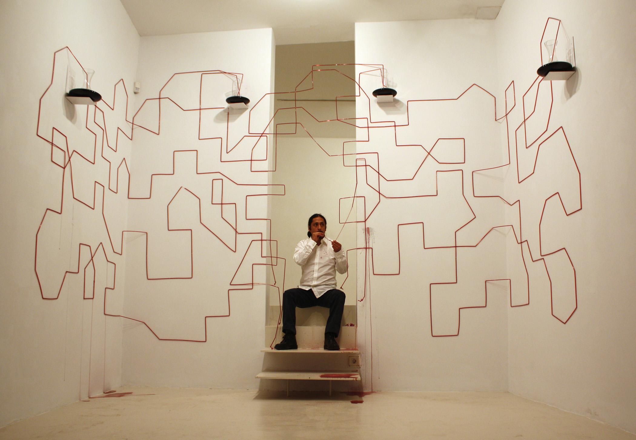 Performance Mapa Vascular en la Galería Maior de Palma, 2011