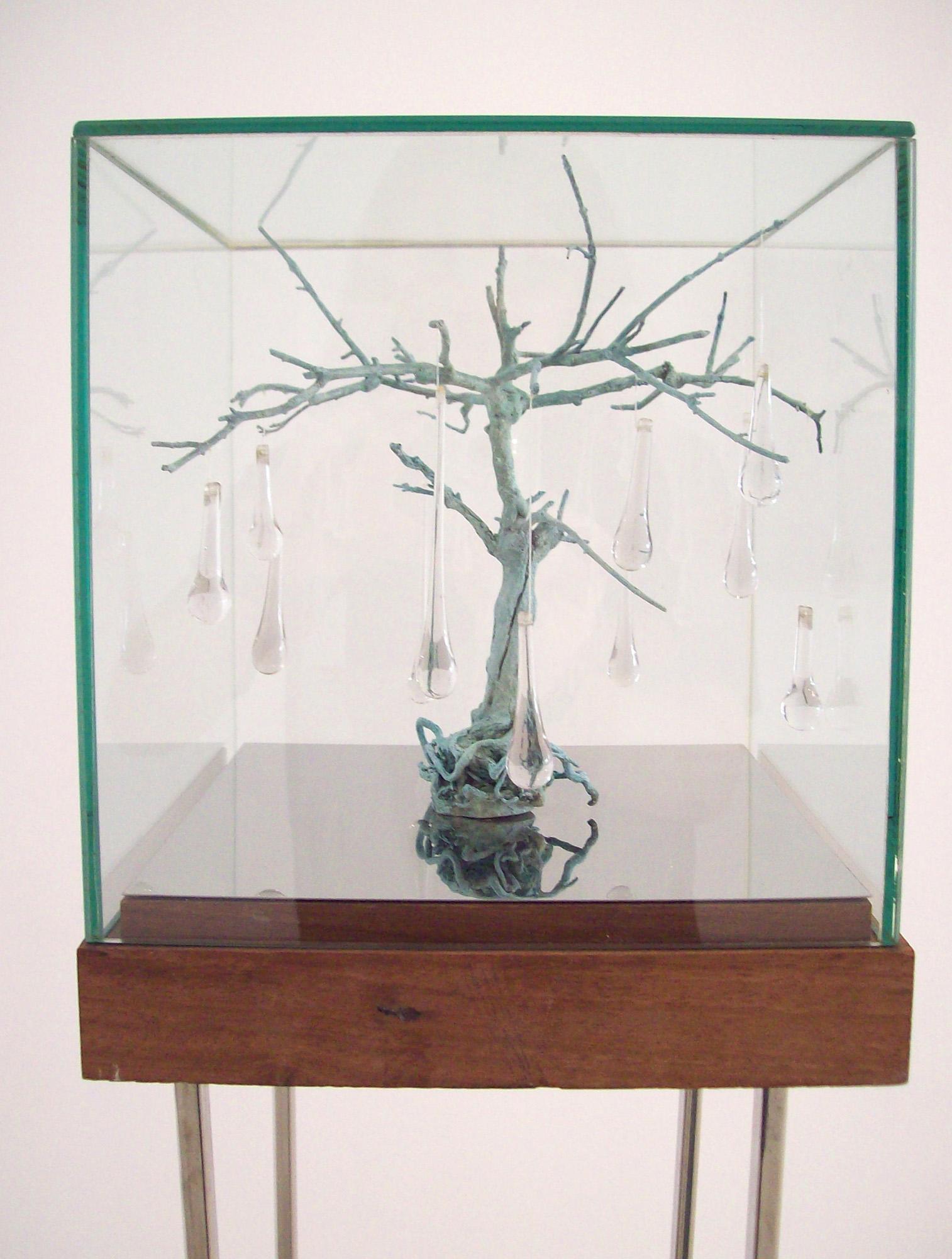 Preludio III, 2011, bonsai de bronce y lágrimas de cristal, 25 X 25 X 30 cm.