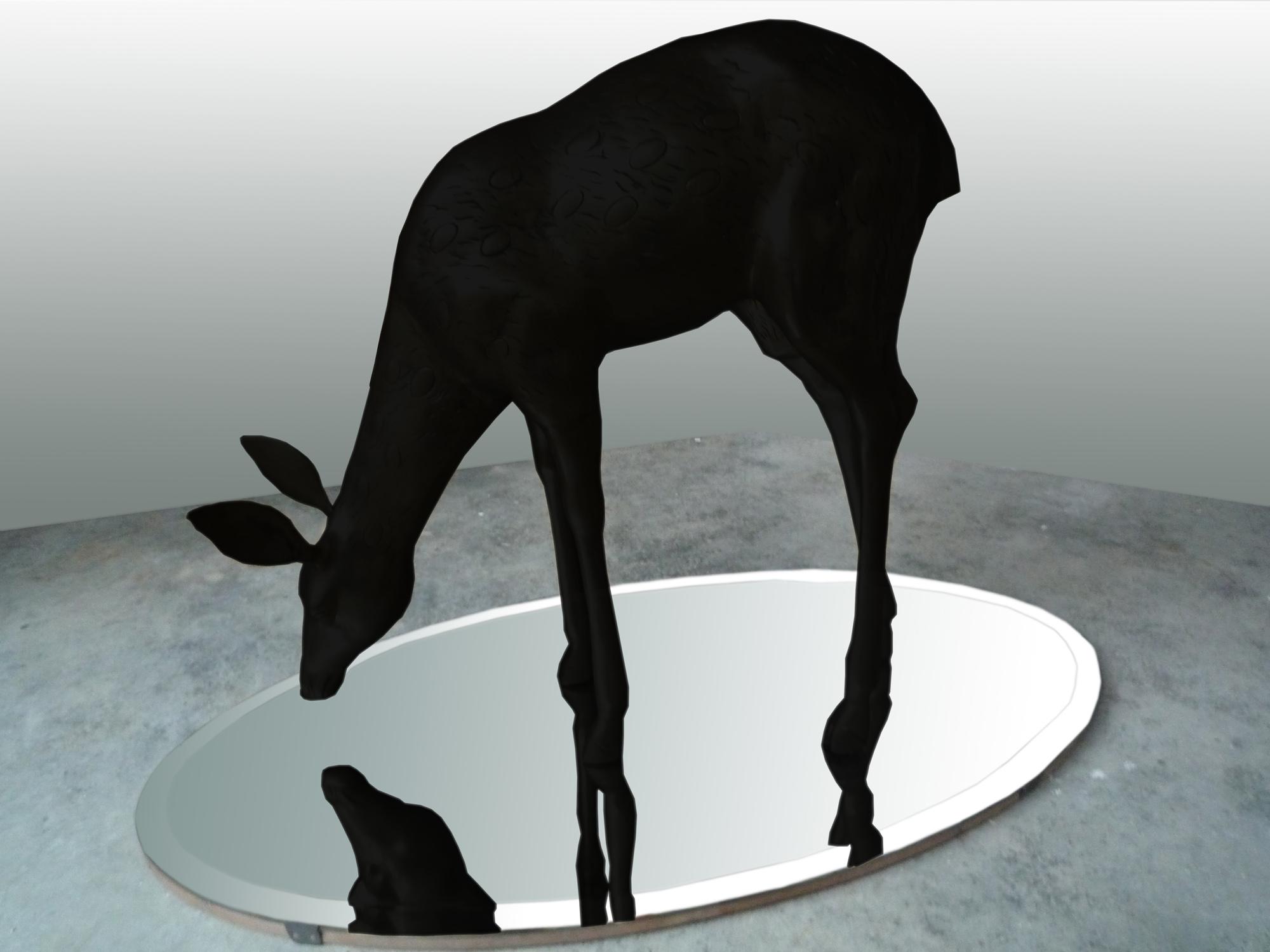 Bambi, (ed.7), 2011, bronce patinado y espejo, 120 X 74 X 68 cm.