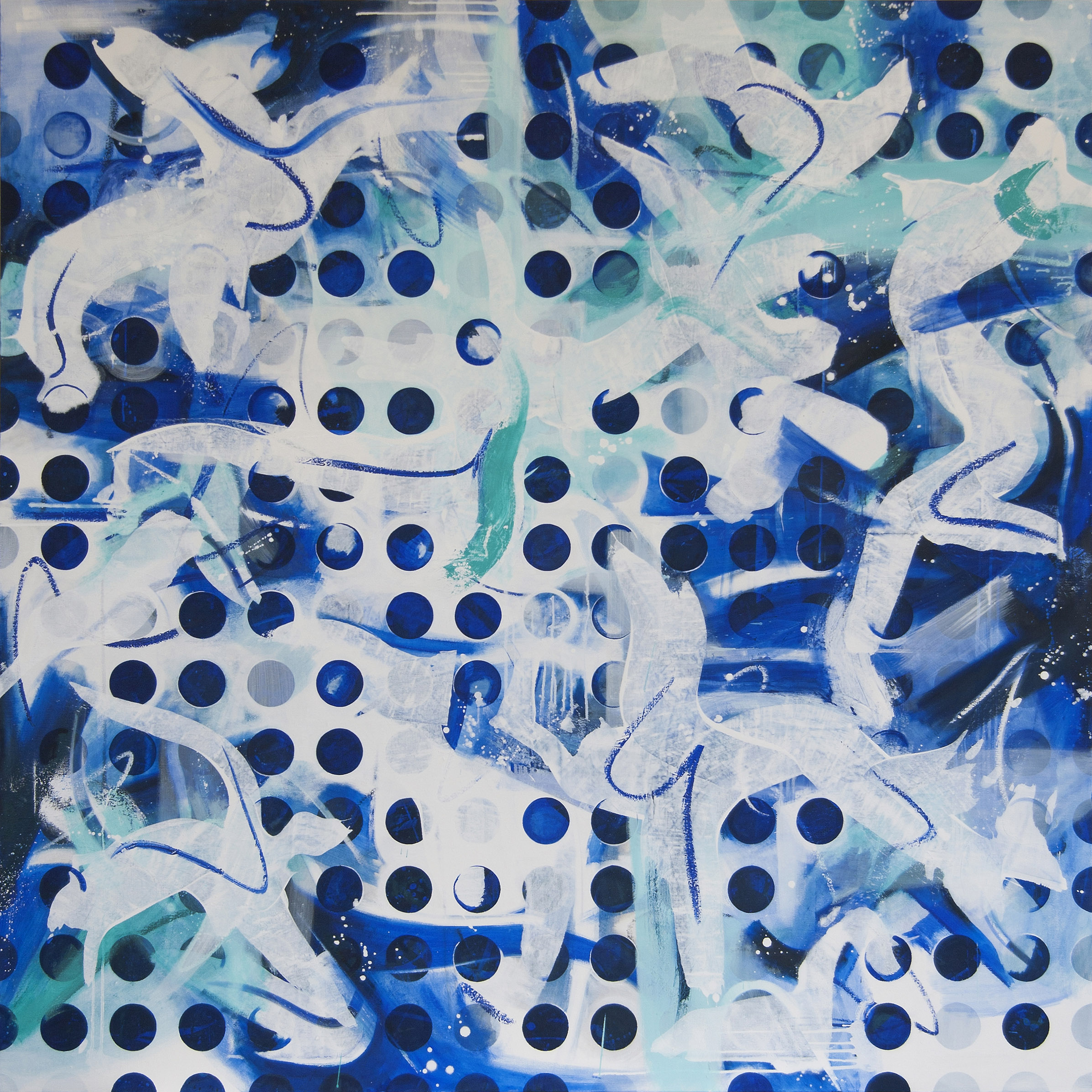 Espacio Ultramar, 2014, Acryl and oil on canvas, 170 x 170 cm.