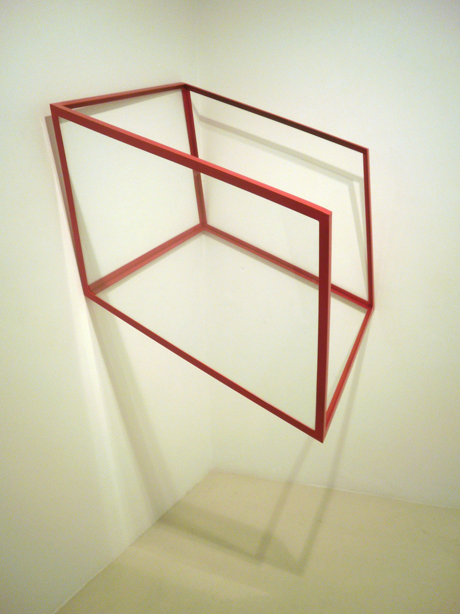 Untitled, 2008, painted iron and glass, 160 x 150 x 110 cm.