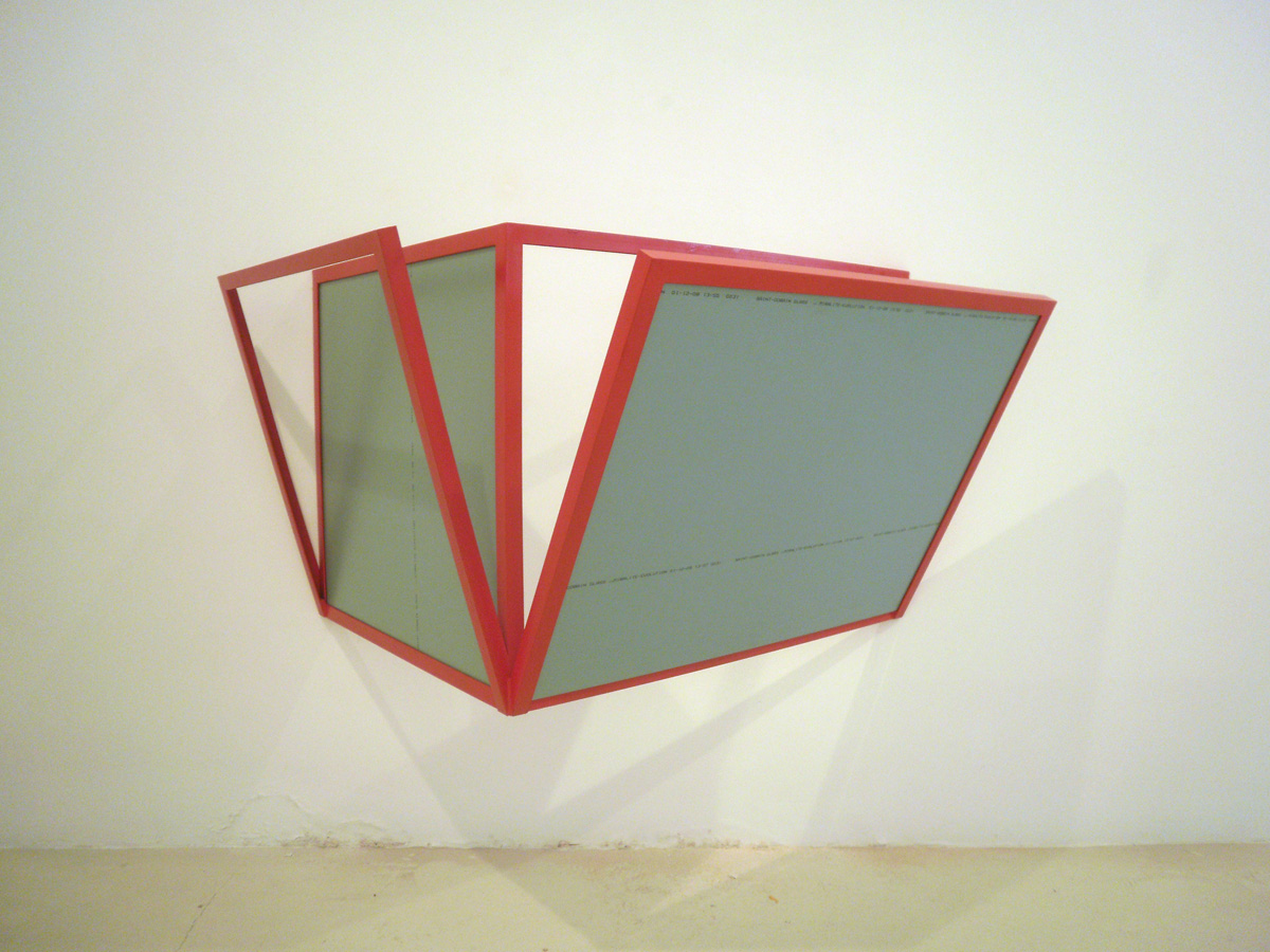 Untitled, 2008, painted iron and mirrors, 75 x 165 x 92 cm.