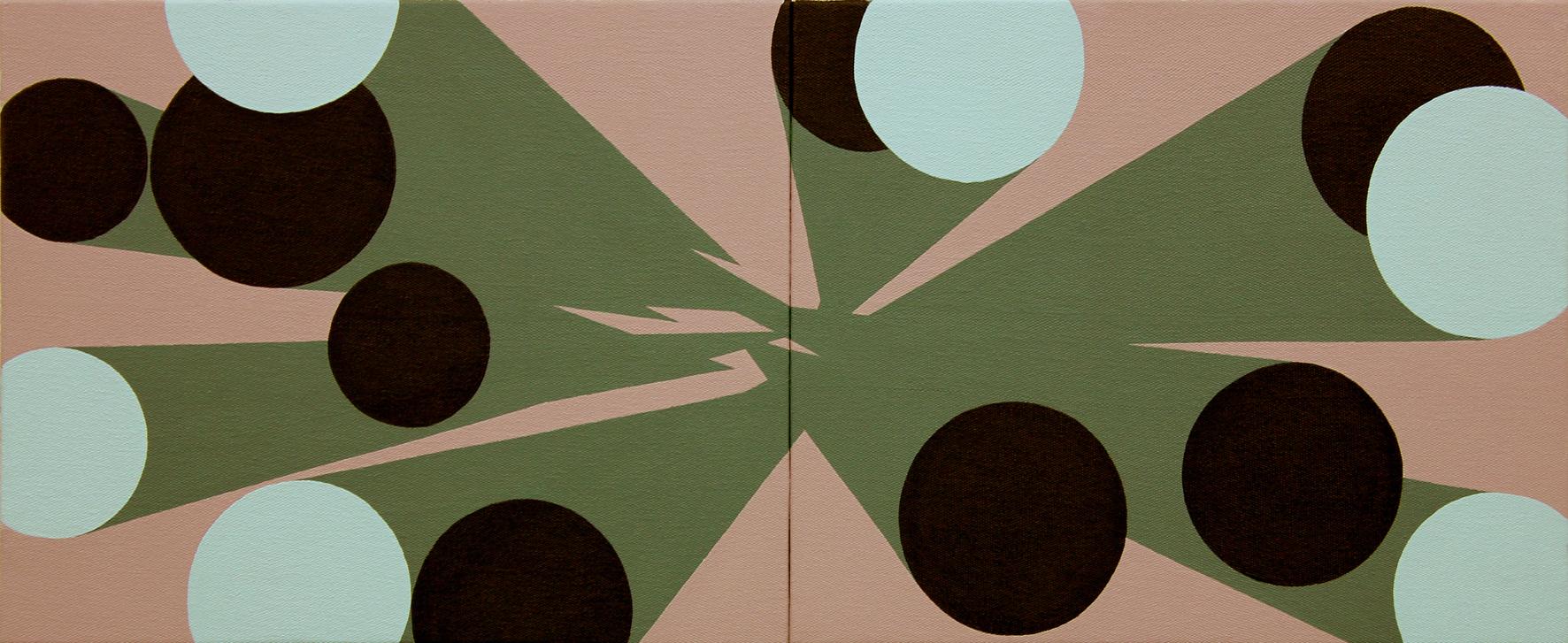 Memorias imaginadas, (díptico), 2014, acrílico sobre lienzo, 33 x 82 cm.