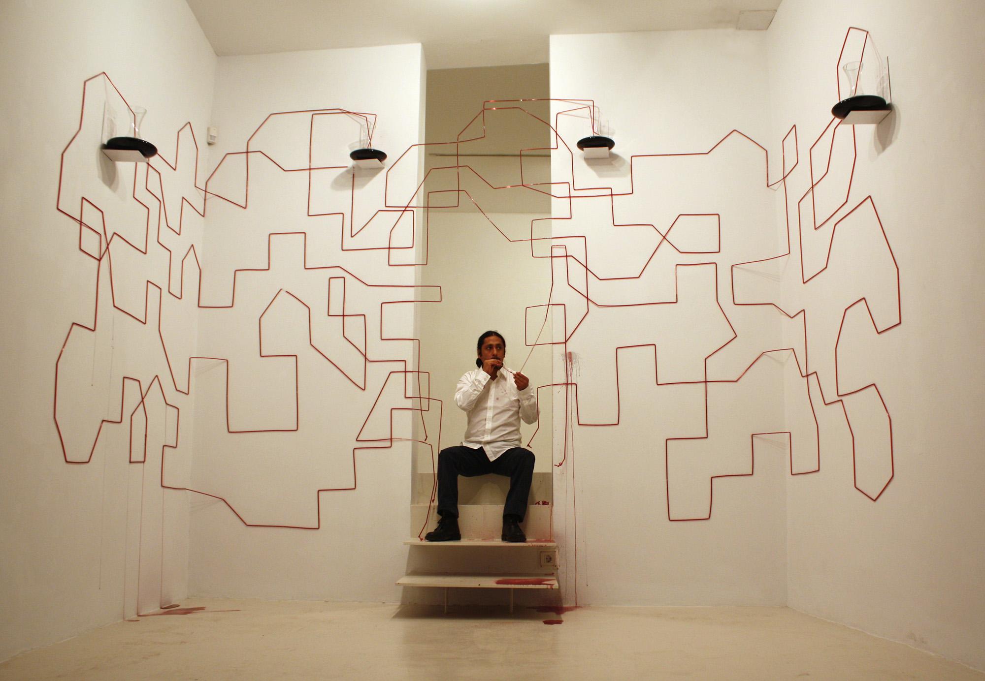 Performance e instalación La Circulación del Pensamiento, Palma 2011