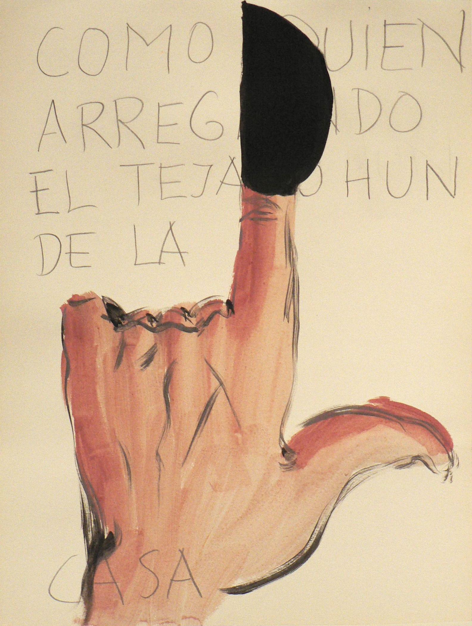 Serie 'Entremanos', 2005, t�cnica mixta sobre papel, 38 x 28 cm.